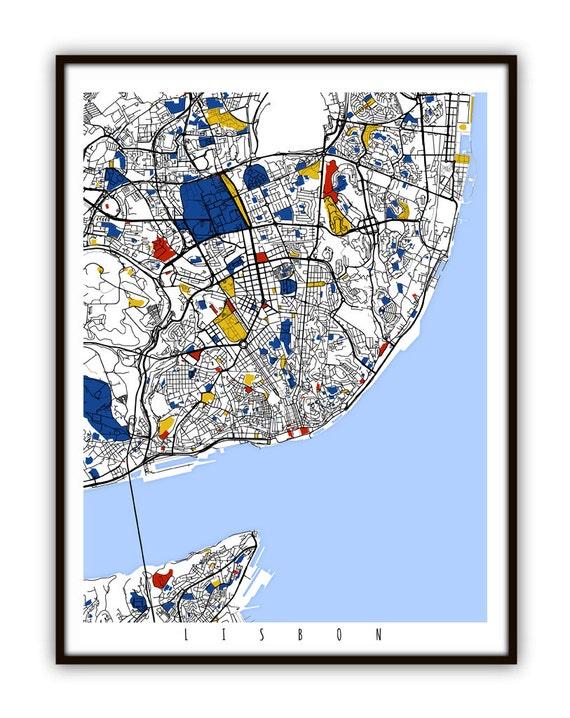Lisbon Map Art Lisbon Portugal Wall Art Print Poster