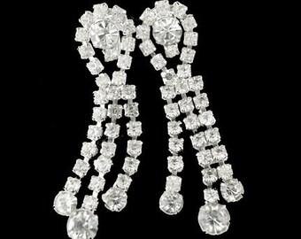 Vintage Clear Rhinestone Dangle Drop Earrings with Screw Backs