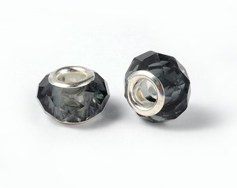 2 beads European faceted gray brass 14 x 10 mm beads with large hole 5 mm, for Bracelets European snake, leather, stiff