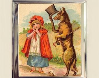 Little Red Riding Hood Cigarette Case Business Card ID Holder Wallet Storybook Children's Illustration Big Bad Wolf