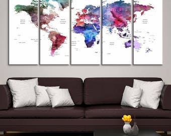5 Piece Watercolor Push Pin World Map Canvas Print - Colourful Travel Map with Country Names on White Background - Extra Large Wall Art