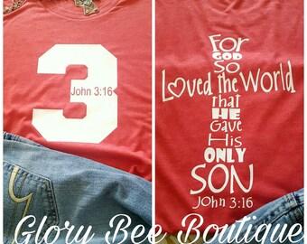 John 3:16 shirt, Scripture shirt, Christian Tee