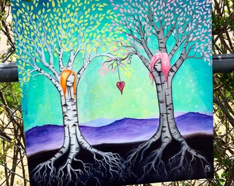 "The Ties That Bind 12""x12"" ORIGINAL acrylic painting by Marcia Furman- Best Friends, Girlfriends Surreal Birch Trees"