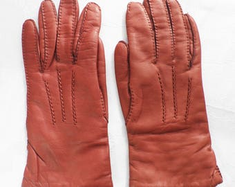 1960s Tan Kid Leather Gloves  Classic