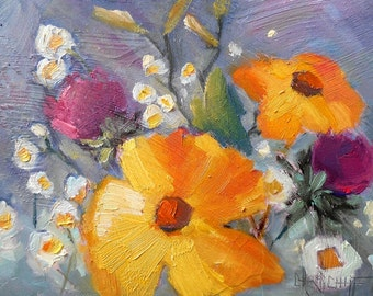 "Original Flower Oil Painting, Impressionist Floral, Daisy Painting, 6x8"" Small Oil Painting by Carol Schiff, Free Shipping in US"