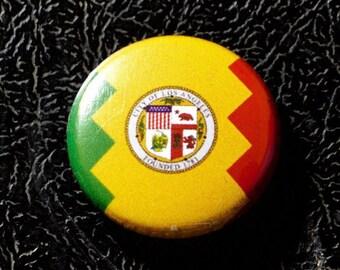 "1"" Los Angeles CA flag button - California, city, pin, badge, pinback"