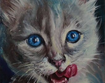 Pet painting Christmas gift|for|her Pet portrait oil painting Small painting original Cat painting cat|lover|gift Blue gift for girlfriend