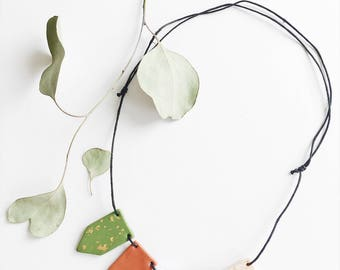 Adjustable Clay Bead Necklace, Organic Cotton Cord, Green, Blush, Cooper, White, Black + Gold