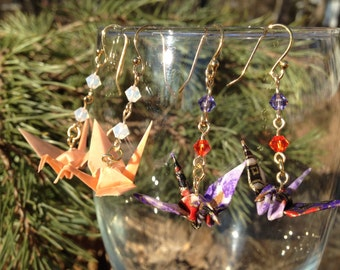 Hand-Folded Origami Crane Earrings with Swarovski Crystals, 14KT Gold-Plated Ear Wires, Japanese, 14K
