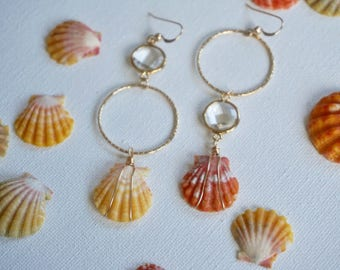 Gold filled red and yellow sunrise shell earrings
