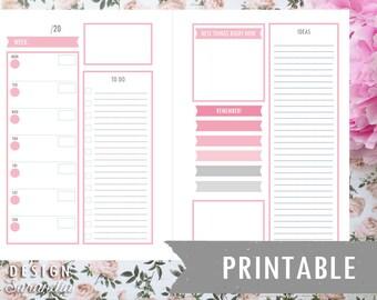 Printable weekly planner pink (English)