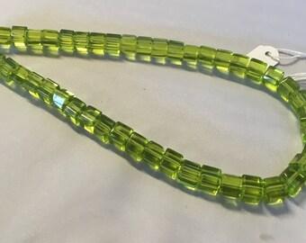 1 Strand Grass Green Glass Cube Beads 8mm x 8mm Glass Dice Beads D0343