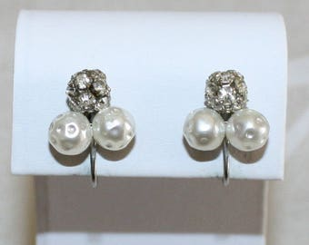 Lovely Vintage Pearl and Rhinestone Cluster Earrings