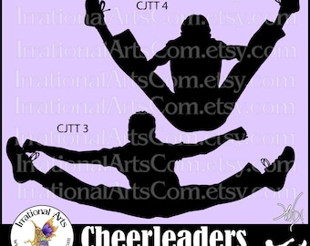 Cheerleader Jump Toe Touch Sillhouettes MEN - Vinyl Ready Image digital clipart graphics - 2 EPS, SVG, or Png files