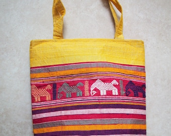 Handmade Tote / Shoulder bag made from Vietnamese high quality SILK and COTTON