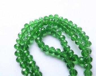 New! 98 green faceted Crystal rondelles 6 x 4 mm RCVE 815