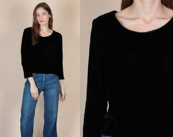 70s Black Velvet Button Back Top - Small // Vintage 3/4 Sleeve Cropped Shirt
