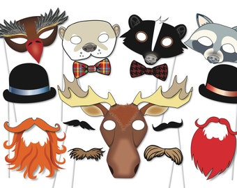 Woodland forest Party Photo booth Props Set - 22 Piece PRINTABLE -  wild forest animals, moustache, masks, Baby shower Photobooth Props