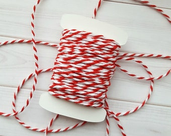 10 Yards Chunky Red Baker's Twine, Red and White Thick Twine, 100% Cotton