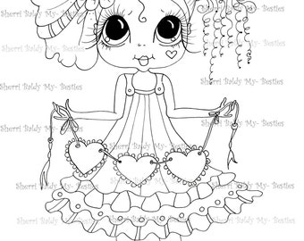 INSTANT DOWNLOAD Digital Digi Stamps Big Eye Big Head Dolls Digi  Molly Love Bug  By Sherri Baldy