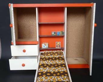 Ehemaligen Spielzeug   Möbel Bett Holzpuppe   Vintage 70er Jahre
