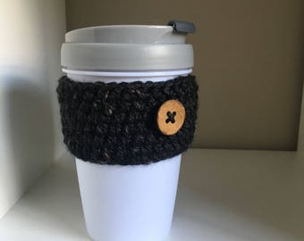 Coffee Cup Cozy Sleeve with Button | Crocheted