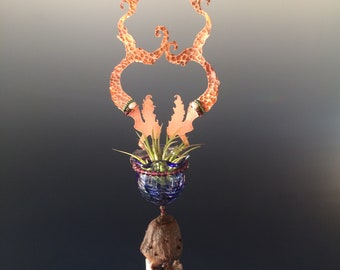 Twin Copper Mermaids with Hand Blown Glass Bottle &  Large Obsidian Wind Chimes - Air Plant Holder or Essential Oil Diffuser -  Gift for Mom