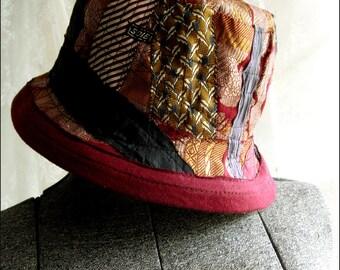 Masculine Colors Art Deco Fabrics Patchwork Bucket Hat