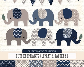 Patterned Navy Elephants Clipart and Digital Papers - Navy Elephant Clipart, Elephant Vectors, Baby Elephants, Cute Elephants