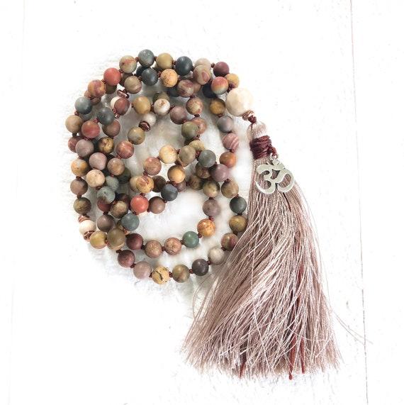 BRING CHANGE MALA - Jasper Mala Beads - Riverstone Mala Necklace - Earthy Hand Knotted Mala - 108 Mala Beads - Boho Style Mala Beads