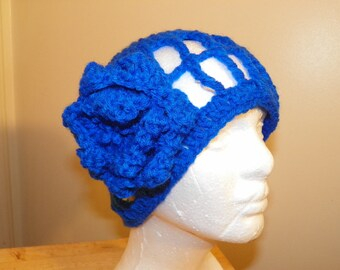 Royal Blue Hat with a Flower