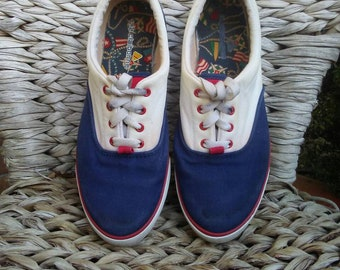 80s Liz Claiborne sneakers, 80s canvas sneakers, red white blue colorblock tennis shoes, womens 7 7.5
