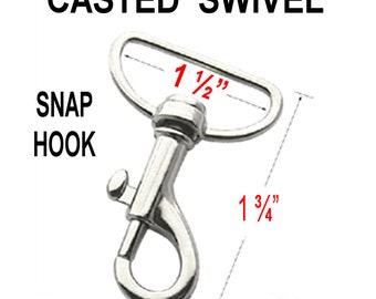 """10 PIECES - 1 1/2"""" - Casted Swivel Snap Lobster Claw Hook, 1.5 inch - Purse Strap Clip - Nickel Plate or Antique Brass"""