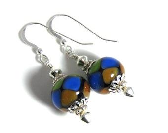 Blue Green & Brown Lampwork Earrings, Blue Earrings, Green Earrings, Brown Earrings, Dangle Earrings, Sterling Silver, Lampwork Jewelry