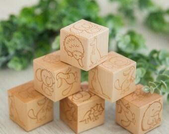 Wooden Blocks Australian Animals