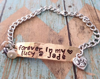Pet Memorial Bracelet - Forever in my Heart Pet Name - Personalized Pet Memorial - Remembrance Bracelet- Love my Cat -Dog Loss Gift - P30