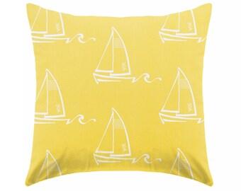 Yellow pillow covers,  yellow & white pillows , coastal pillows , nautical pillow , beachhouse, Euro sham