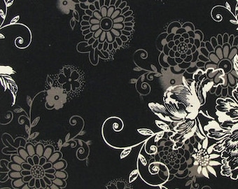 Floral Black Fabric with Flowers By Yard or Half Yard Michael Miller Zephyr Floral Fabric Cotton Quilting Fabric t1-40
