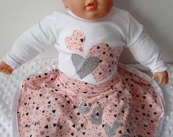 Love baby set/girl/ pink/heart/onesie/skirt/baby set/heandband/valentinesday