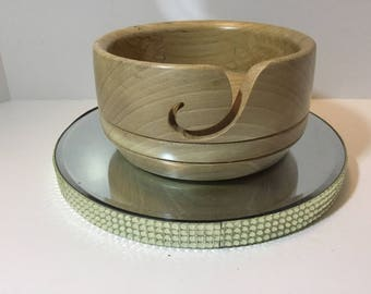 Wooden yarn bowl, hand turned from ELM         (ELM23)