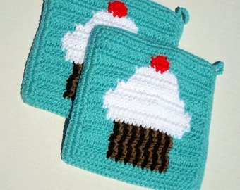 White Cupcake With Cherry on Top Potholders, Light Aqua Potholders, Kitchen Cupcake Decor, Crochet Pot Holders, Set of Two MADE TO ORDER
