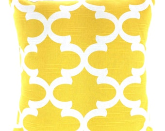 Yellow Trellis Pillow Cover, Decorative Throw Pillows, Cushion Covers, Corn Yellow White Fynn Moroccan Quatrefoil One or More All Sizes