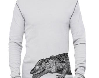 Thermal Shirt, Crocodile Thermal Tshirt, Vintage Print Crocodile T Shirt, Animal Tee, Men's Long Sleeve