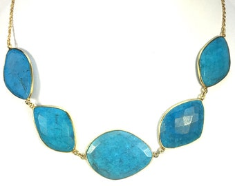 Turquoise CHOKER CHAIN NECKLACE Sterling Silver Gold Vermeil Spring Summer Fashion