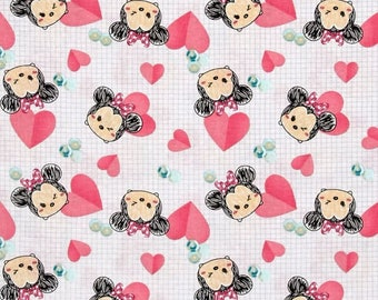 Disney Fabric, Disney Tsum Tsum Fabric: Disney Tsum Tsum Minnie Hearts Pink 100% cotton fabric by the yard (SC1082)