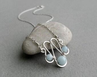 Aquamarine Sterling Silver Necklace, Minimalist Aquamarine Necklace, Throat Chakra, March Birthstone Gift, Gift for Her, Aquamarine Jewelry