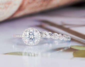 Moissanite Engagement Ring Set Antique White Gold Round Cut Art Deco Diamond Wedding Ring Women Half Eternity Bridal Gift for Her
