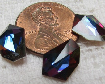 Vintage Swarovski  RARE volcano faceted glass gammatic  size 12.2x9 mm pkg of 3