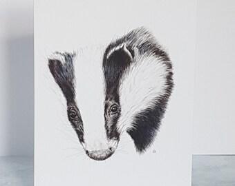 Badger Greetings Card, Wildlife illustration, Nature Lover Gift, Badger Art, Birthday Card