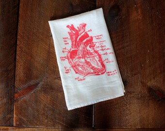 Heart Tea Towel, Heart Towel, Kitchen Towel, Heart Hand Towel, Christmas Gift, Diagram of Heart Towel, White Cotton Dish Towel